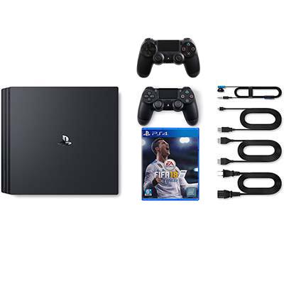 Máy PS4 Pro, 1 đĩa Fifa 2018, hdmi, sạc, nguồn, tai nghe, 2 tay cầm